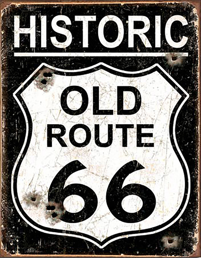 Shop72 - Historic Route 66 Tin Sign Retro Vintage Distressed - Vintage Road Signs