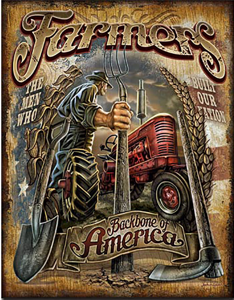 Shop72 - AGCO Corporation Farmers - Backbone Tin Sign Retro Vintage Distrssed - with Sticky Stripes No Damage to Walls