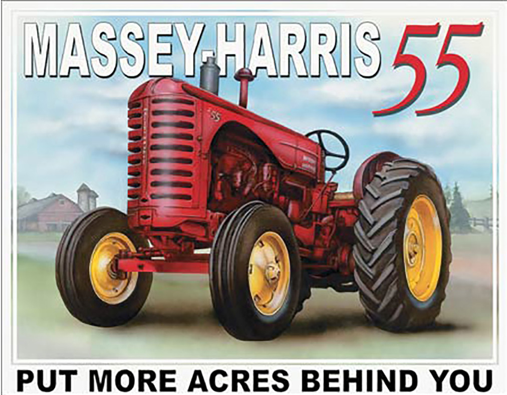 Shop72 - AGCO Corporation Massey Harris - 55 Tin Sign Retro Vintage Distrssed - with Sticky Stripes No Damage to Walls
