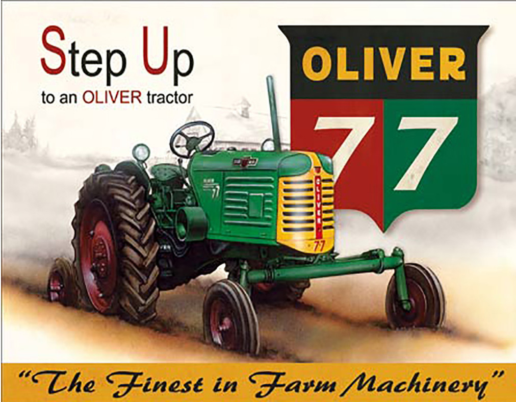Shop72 - AGCO Corporation Step Up to an Oliver Tractor Tin Sign Retro Vintage Distrssed - with Sticky Stripes No Damage to Walls