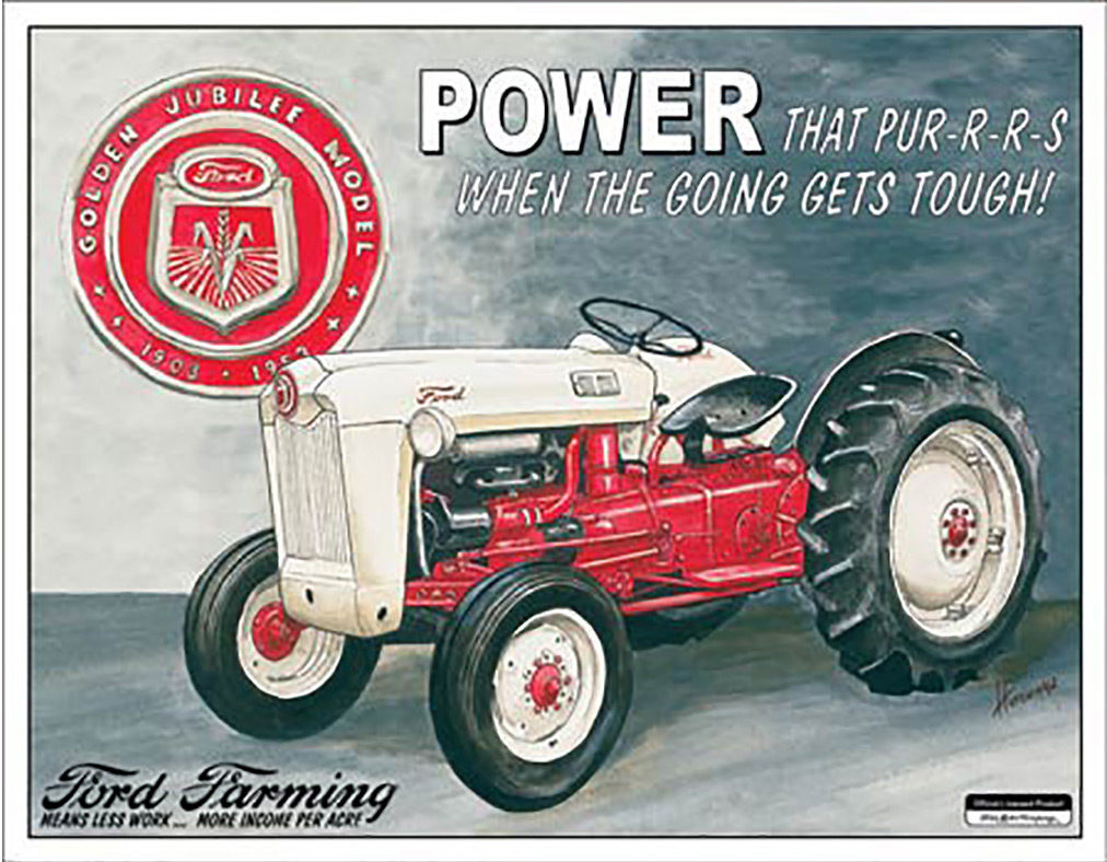 Shop72 - AGCO Corporation Ford Farming Tin Sign Retro Vintage Distrssed - with Sticky Stripes No Damage to Walls