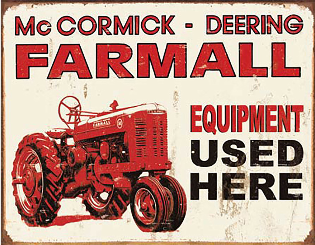 Shop72 - Farmall - Equipment Used Here Tin Sign Retro Vintage Distrssed - with Sticky Stripes No Damage to Walls