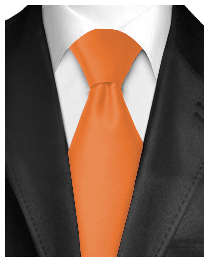 """Dabung - Men's Classic Neck Tie - Silk Finish Polyester Necktie - Solid Color Long Ties for Men - Fashion Tie 57"""" x 3.5"""" Shiny and Non Shiny - Orange-"""