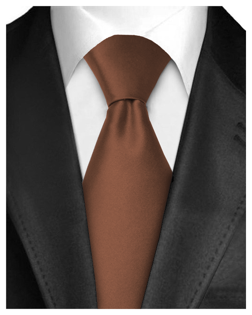 Men Neckties Polyester Long Tie Satin Silk Finish - Brown Ties