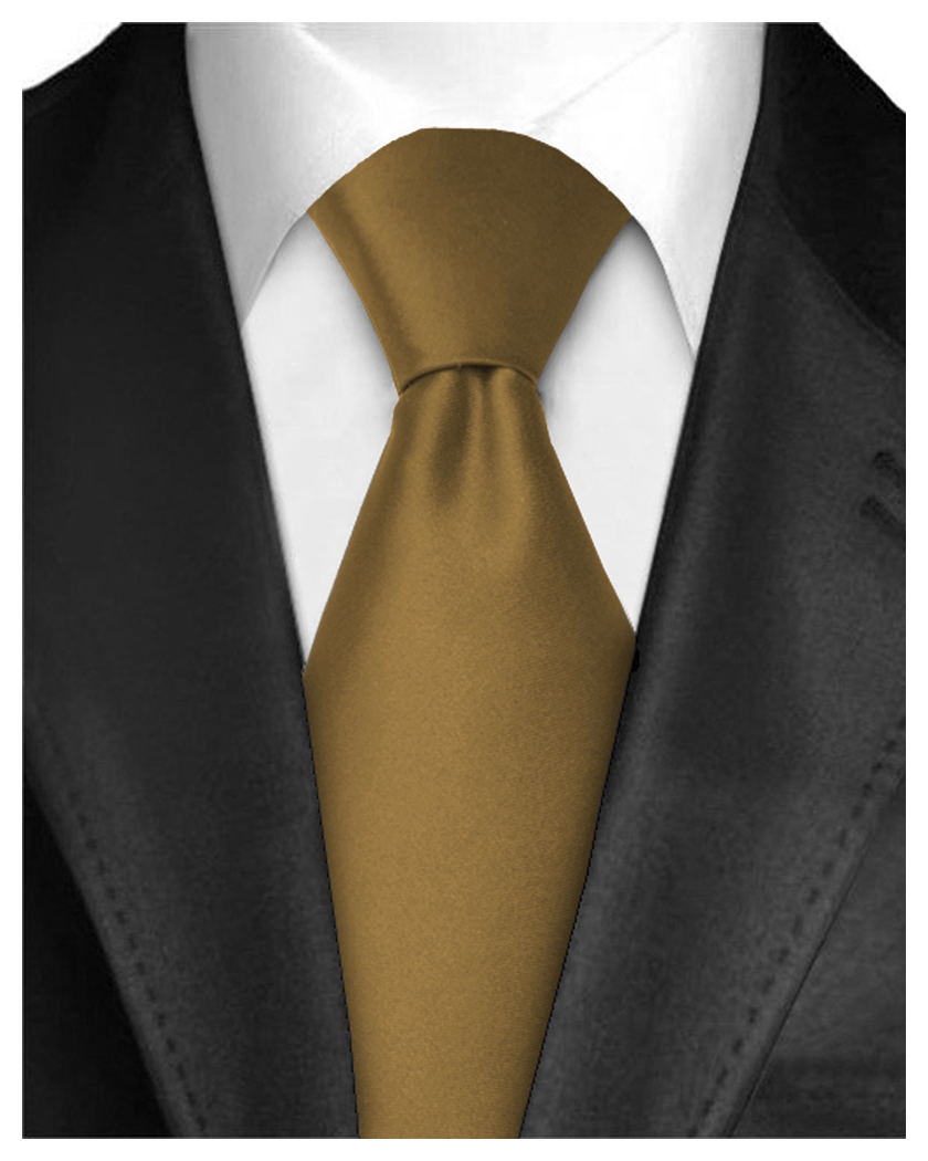 Men Neckties Polyester Long Tie Satin Silk Finish - Burnt Gold Ties