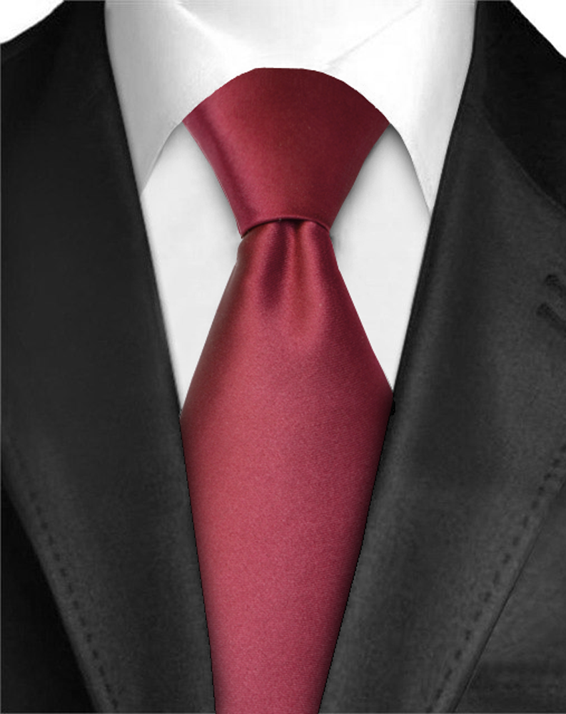 Dabung - Men's Classic Solid Color Neck Tie - Polyester Silk Finish Tie - Burgundy One Size