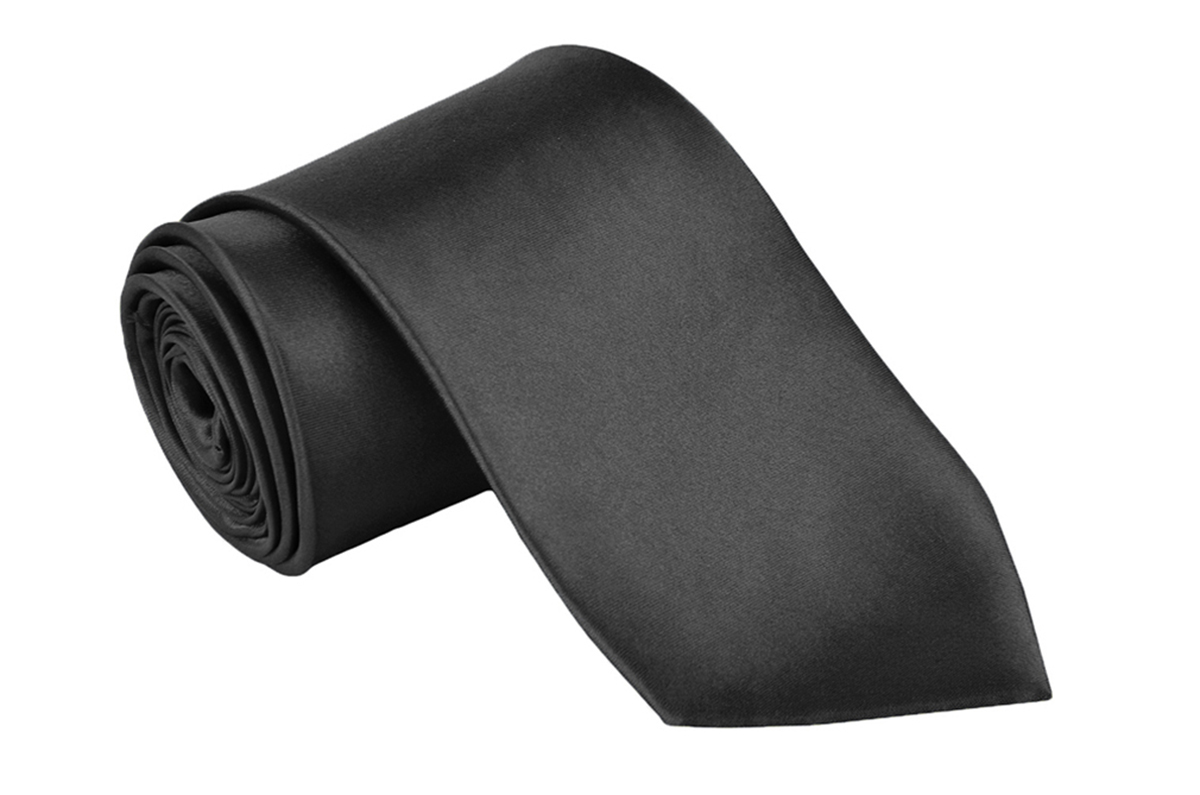 "Dabung - Men's Classic Neck Tie - Silk Finish Polyester Necktie - Solid Color Long Ties for Men - Fashion Tie 57"" x 3.5"" Black"