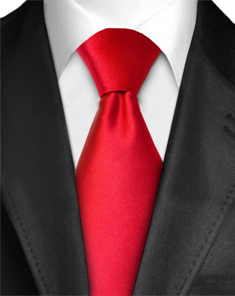 Dabung - Men's Classic Solid Color Neck Tie - Polyester Silk Finish Tie - Red