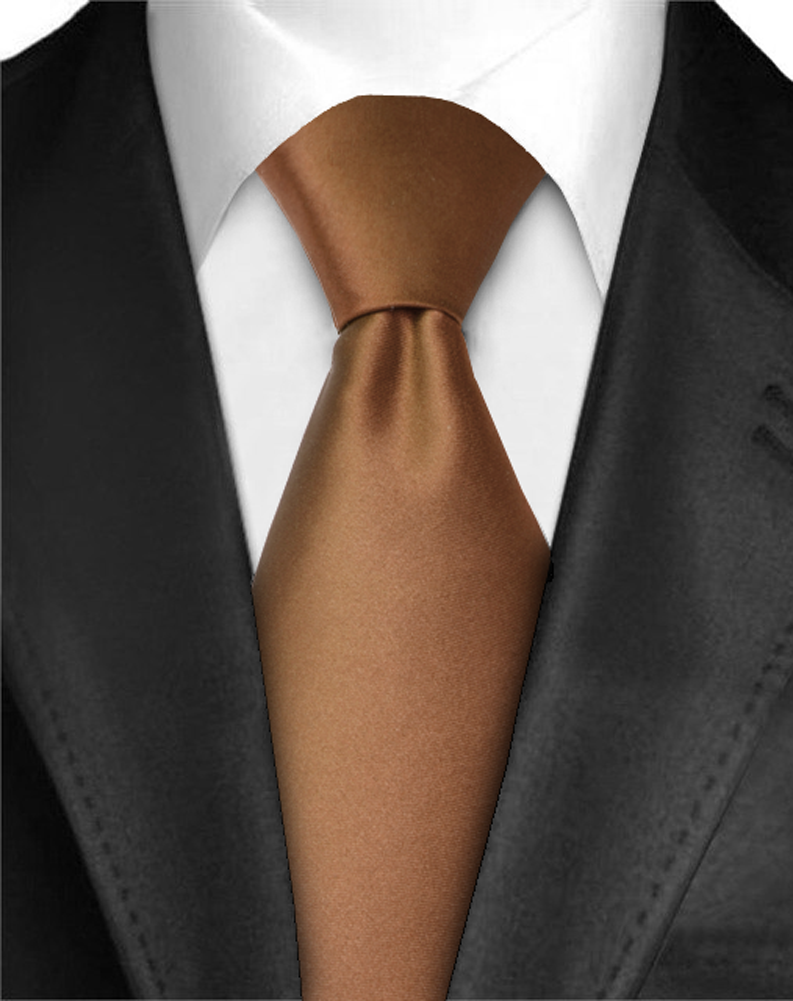 "Dabung - Men's Classic Neck Tie - Silk Finish Polyester Necktie - Solid Color Long Ties for Men - Fashion Tie 57"" x 3.5"" Shiny and Non Shiny - Brown-M"