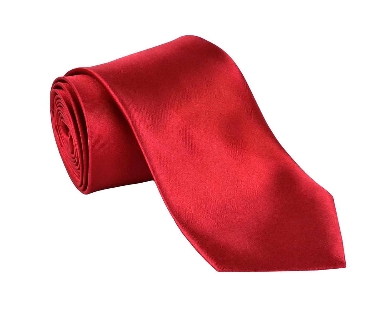 Ties For Men Necktie Polyester Satin Silk Finish Neck tie - Dabung - Red
