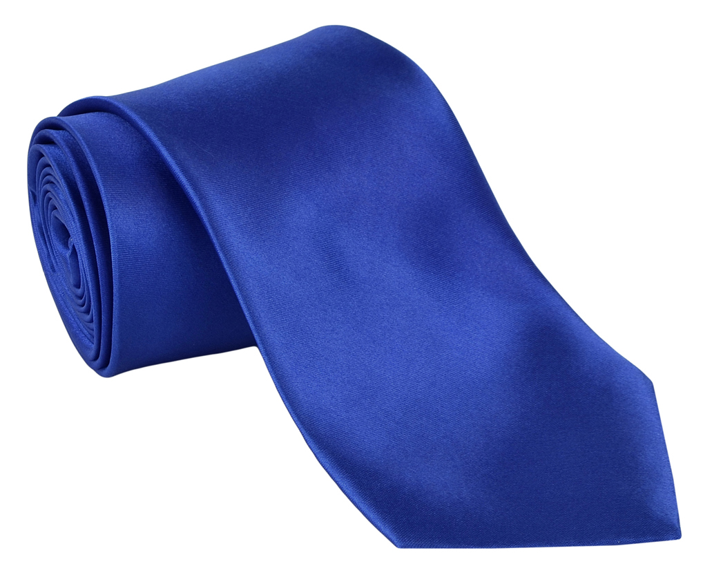 Dabung - Men's Classic Solid Color Neck Tie - Polyester Silk Finish Tie - RoyalBlue