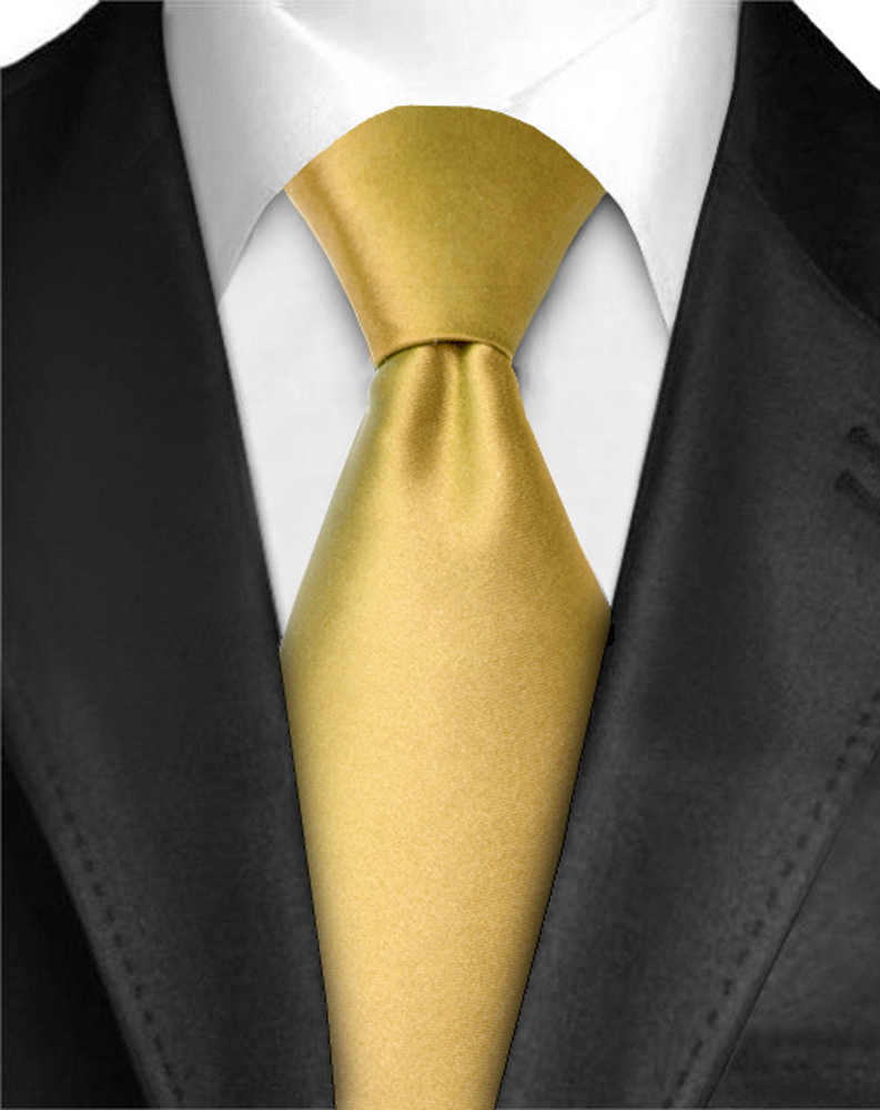 "Dabung - Men's Classic Neck Tie - Silk Finish Polyester Necktie - Solid Color Long Ties for Men - Fashion Tie 57"" x 3.5"" Shiny and Non Shiny - Gold-Sh"