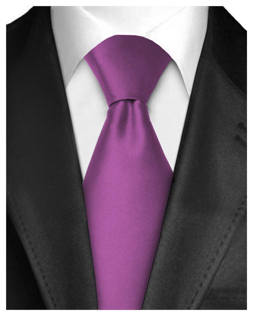 Men Neckties Polyester Long Tie Satin Silk Finish - Purple Ties