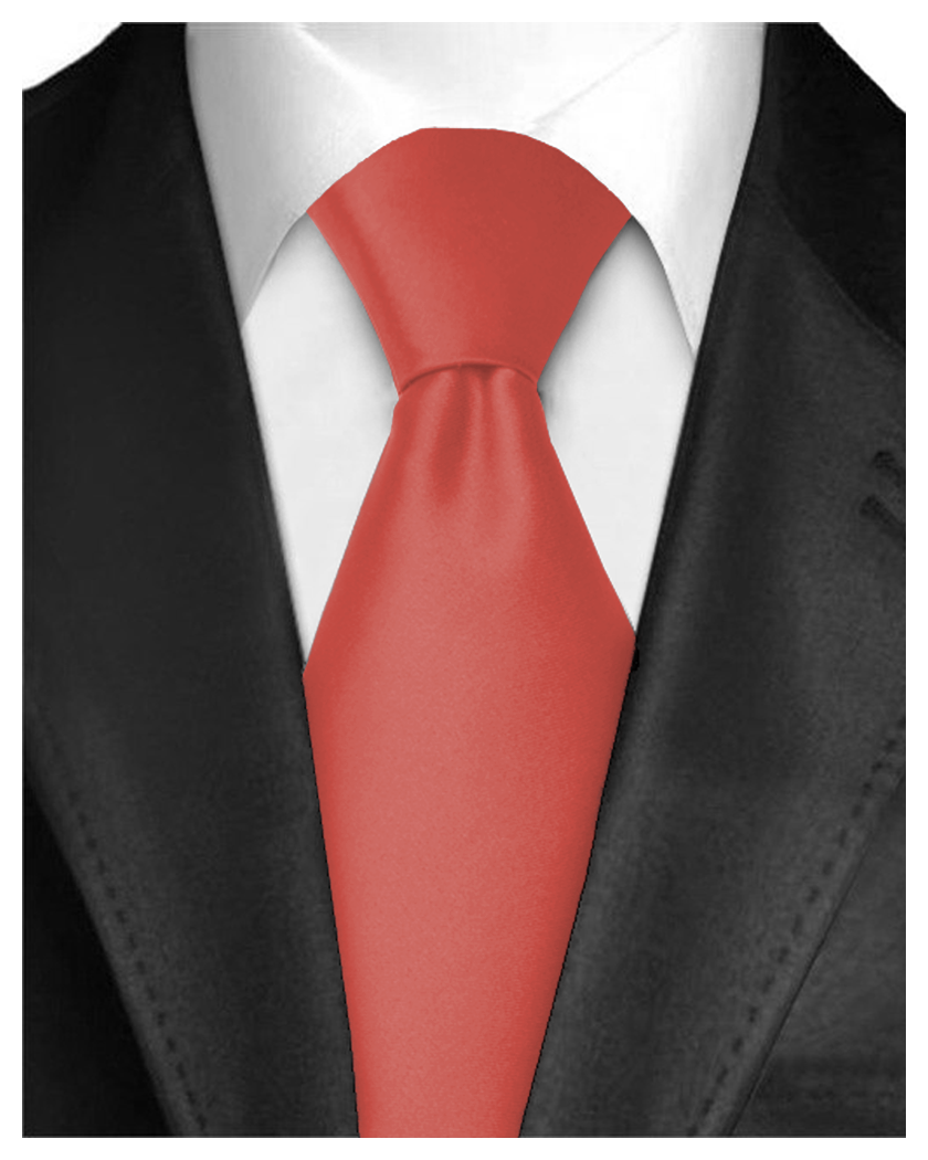 Men Neckties Polyester Long Tie Satin Silk Finish - Red Ties