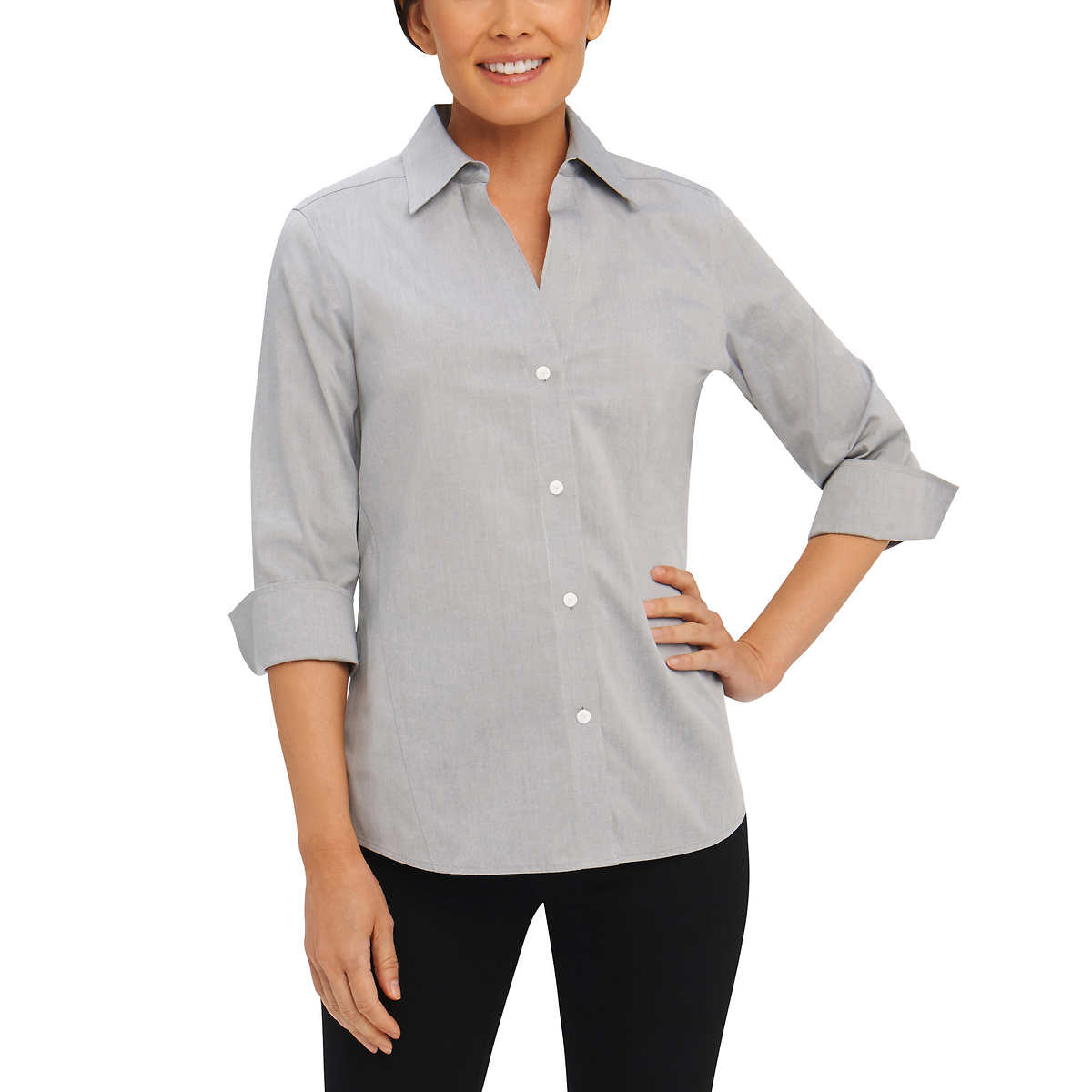 Foxcroft Women's Non-Iron Essential Paige Shirt For Women Silver - Small