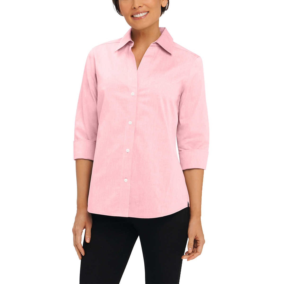 Foxcroft Women's Non-Iron Essential Paige Shirt For Women Pink - Small
