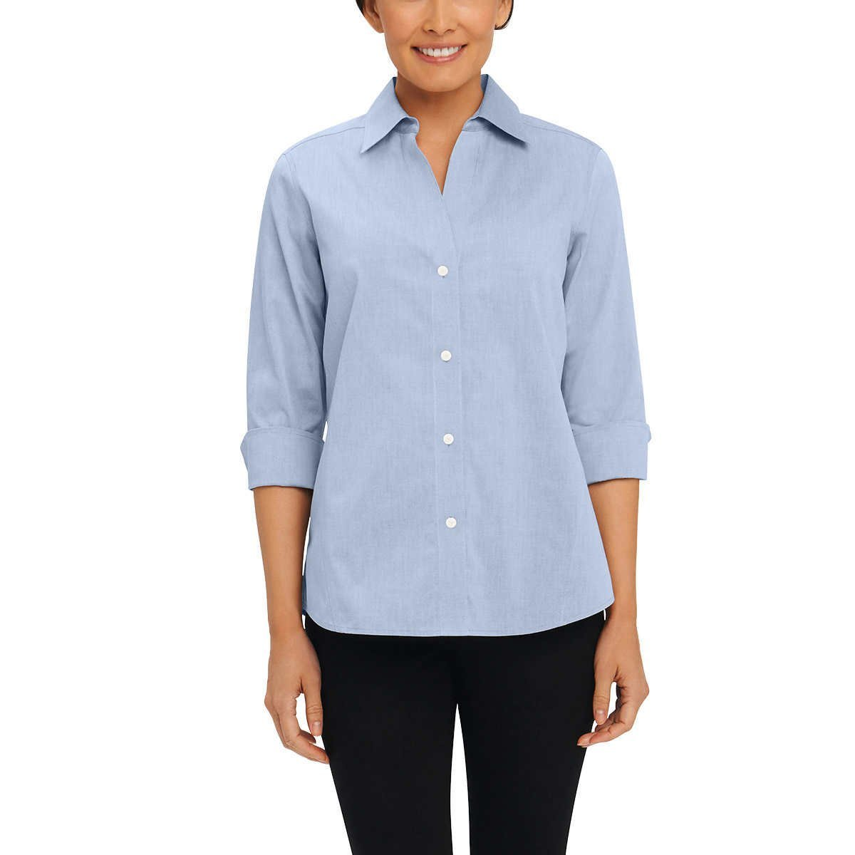 Foxcroft Women's Non-Iron Essential Paige Shirt For Women Blue Wave - Small