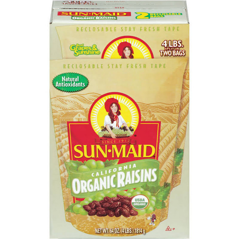 SCS Sun Maid California Organic Raisins - 4 Lbs Split in 2 Bags