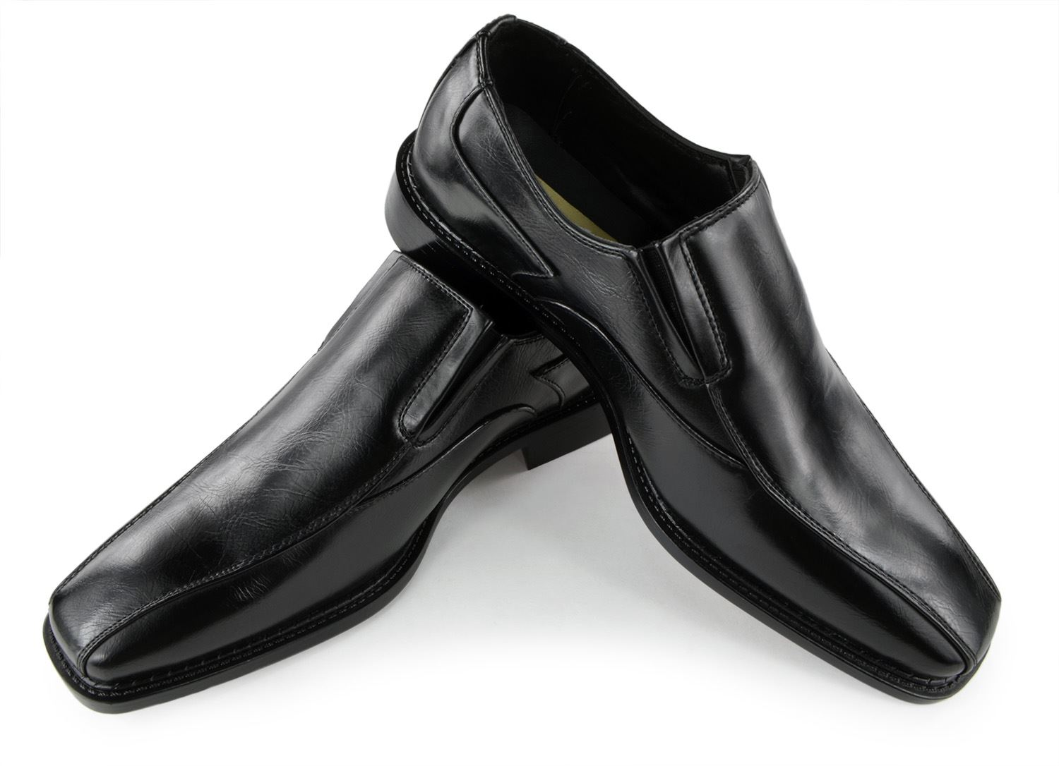Moda Di Raza Mens Slip On Comfortable Leather Wedding Dress Shoes -Black-6524/ Size: 9