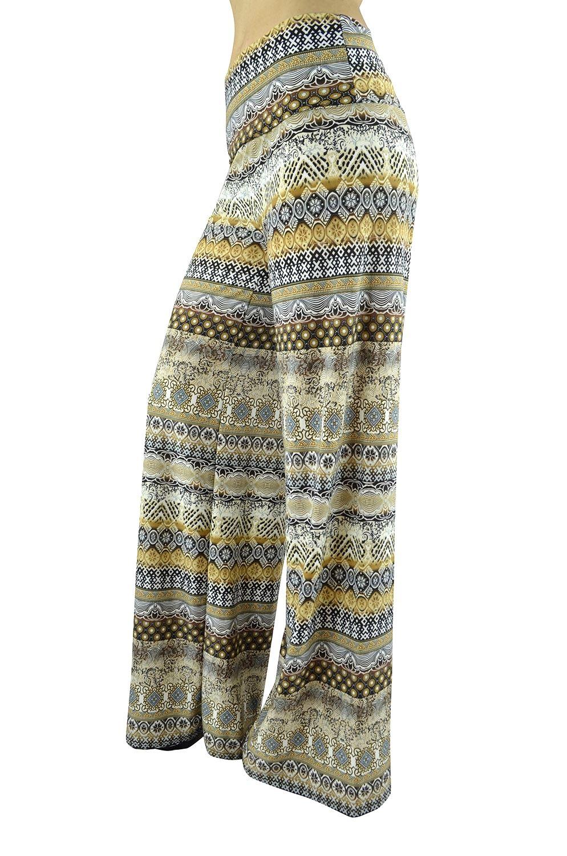 Belle Donne Women Palazzo Pants Chevron Aztec Tribal HighWaist Pants - Black/Medium