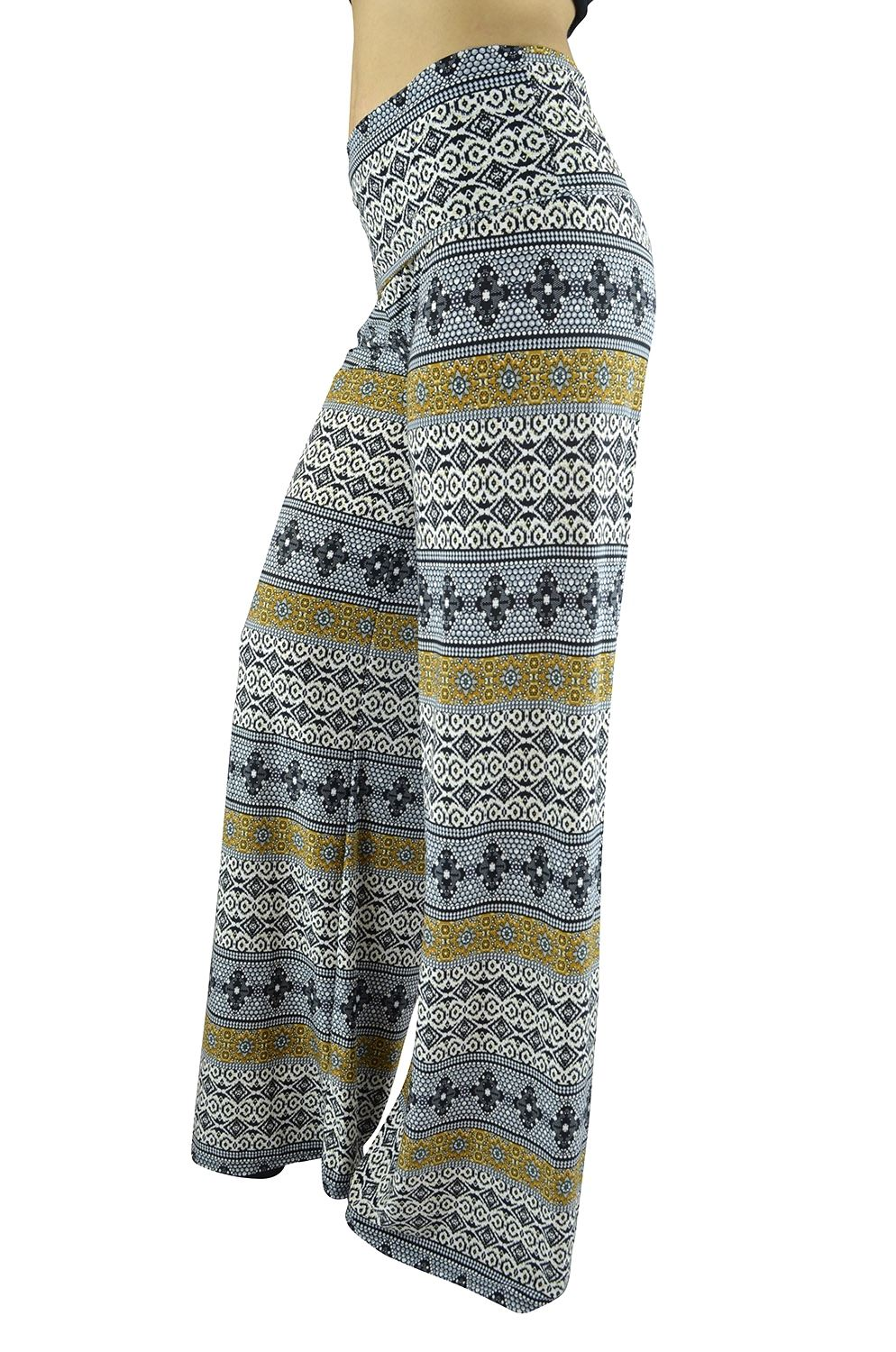 Belle Donne Women Palazzo Pants Chevron Aztec Tribal HighWaist Pants - Gray/Medium
