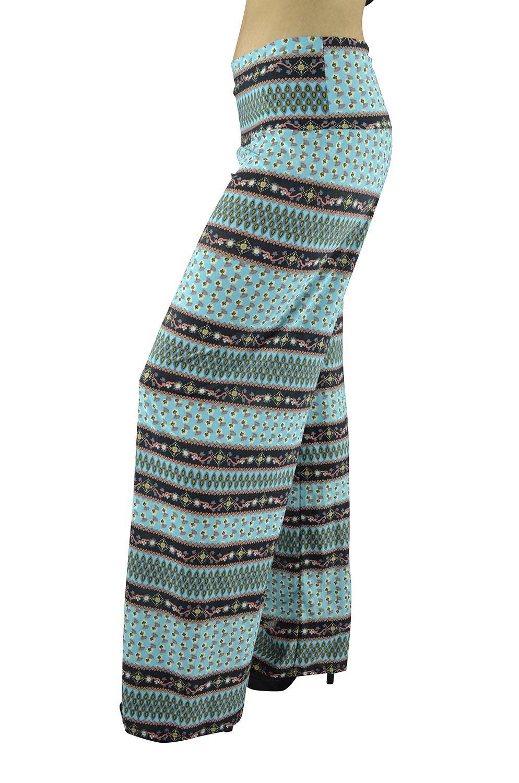 Belle Donne Women Palazzo Pants Chevron Aztec Tribal Highwaist Pants - Black/Large
