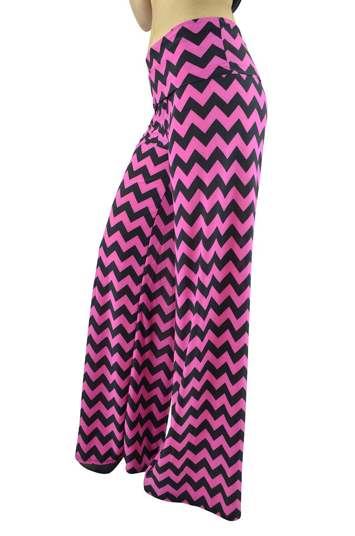 Belle Donne Women Palazzo Pants Chevron Aztec Tribal HighWaist Pants - Pink/Medium