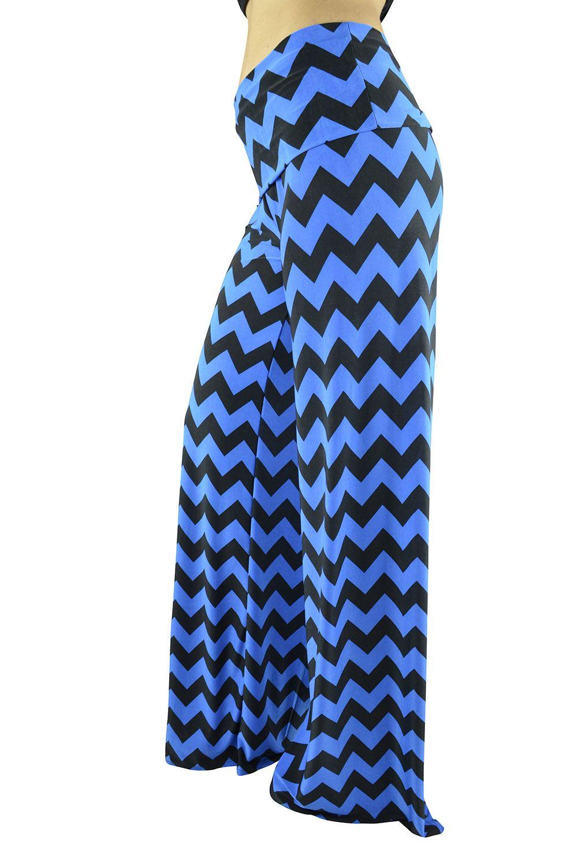 Belle Donne Women Palazzo Pants Chevron Aztec Tribal Highwaist Pants - Blue/Large