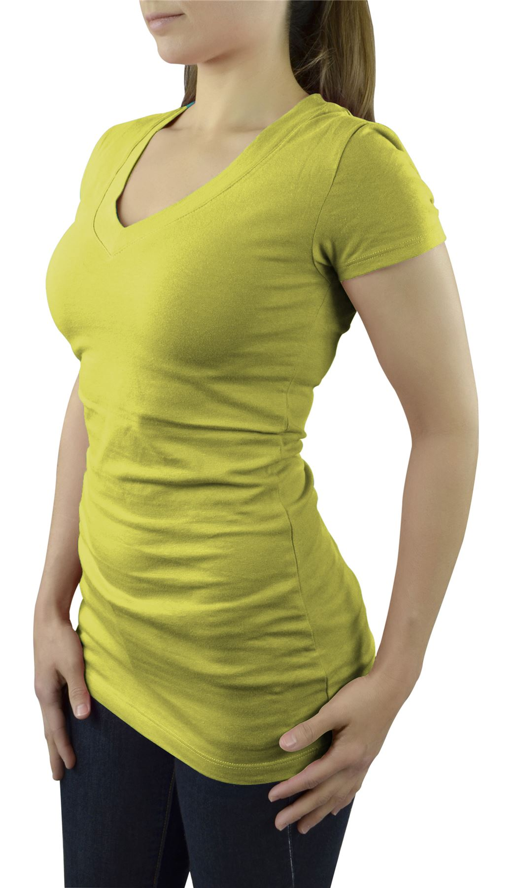 Belle Donne- Women's Short Sleeve V-neck T-shirt Plus Size Various Solid Colors - Mustard/Small