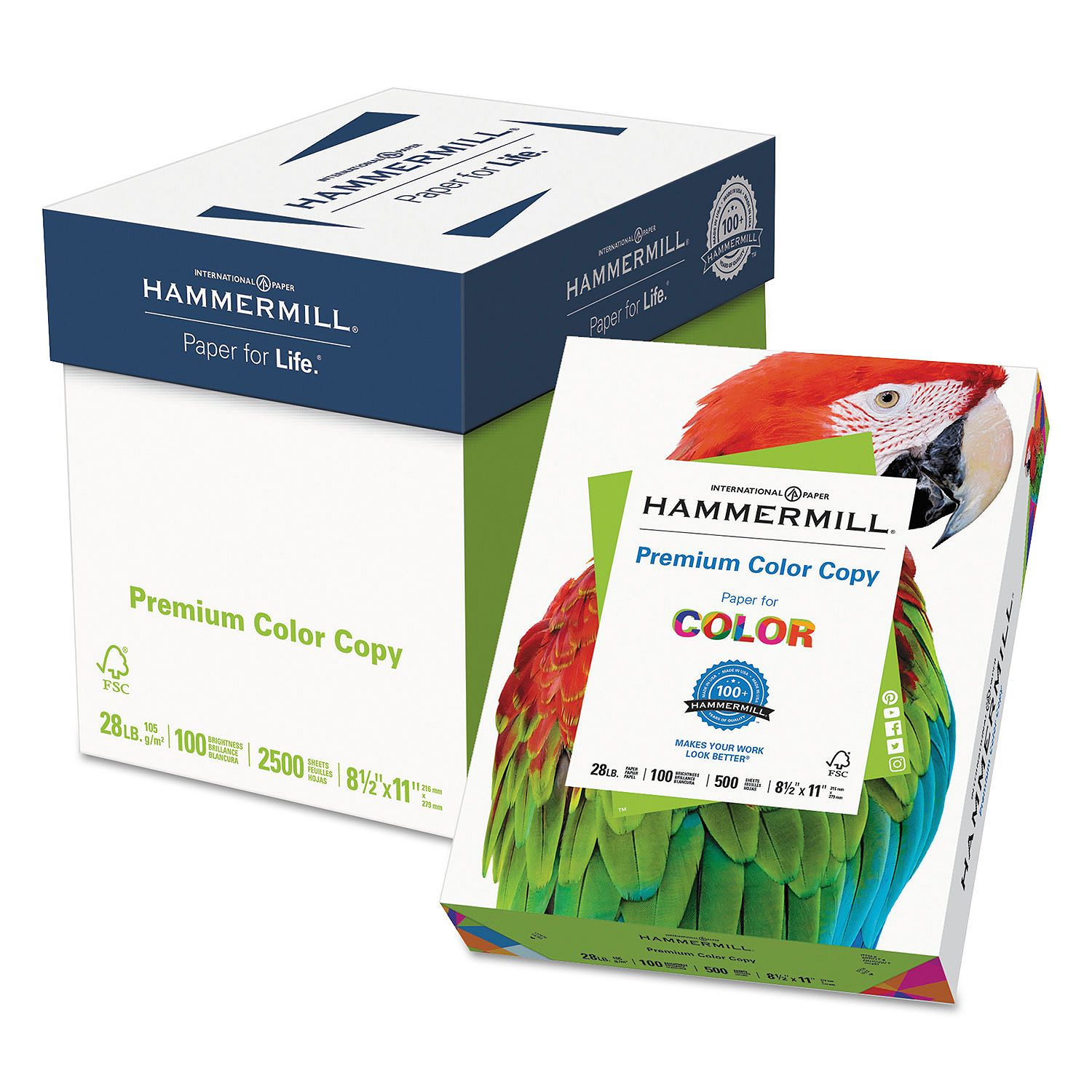 Hammermill Color Copy Paper (102450), 100 Bright, 28 lb., Letter, Photo White, 500/Ream, 5 Reams/Carton
