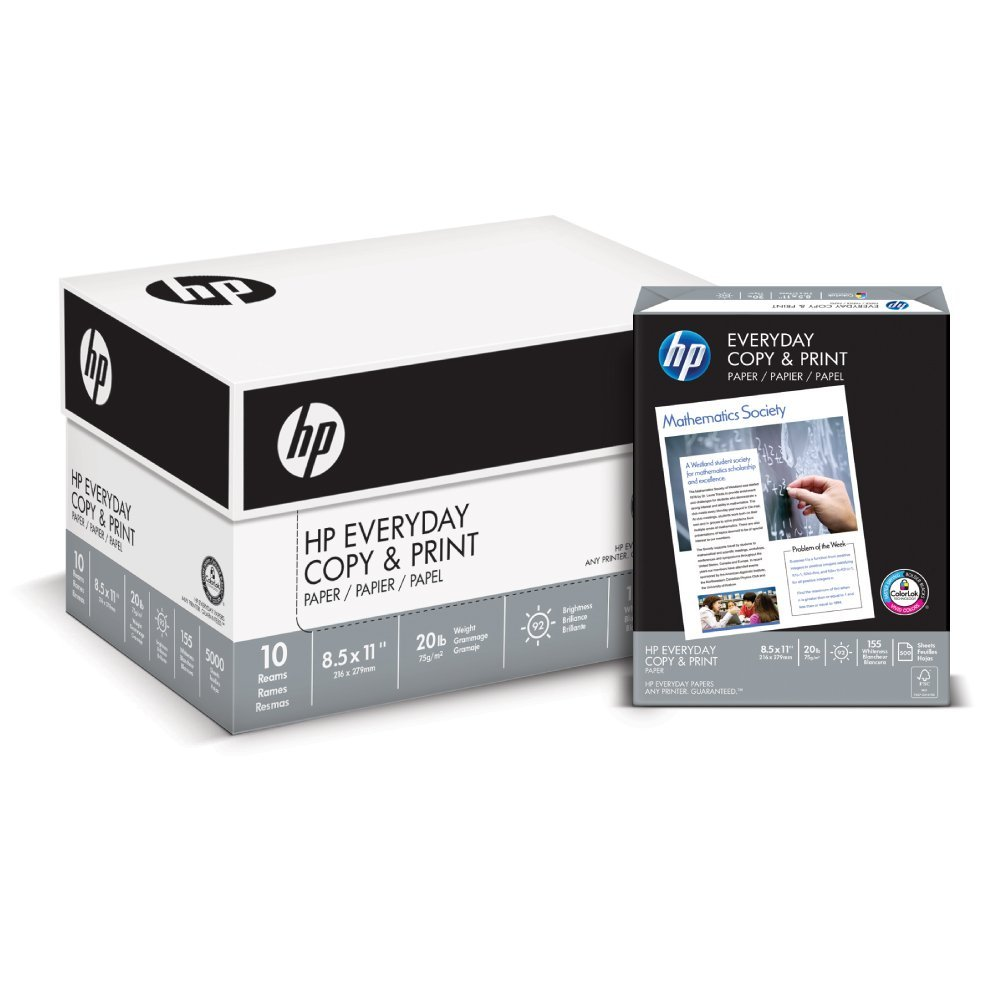 HP Printer Paper, Copy and Print20, 8.5 x 11, Letter, 20lb, 92 Bright, 5,000 Sheets / 10 Ream Carton (200060C) Made In The USA