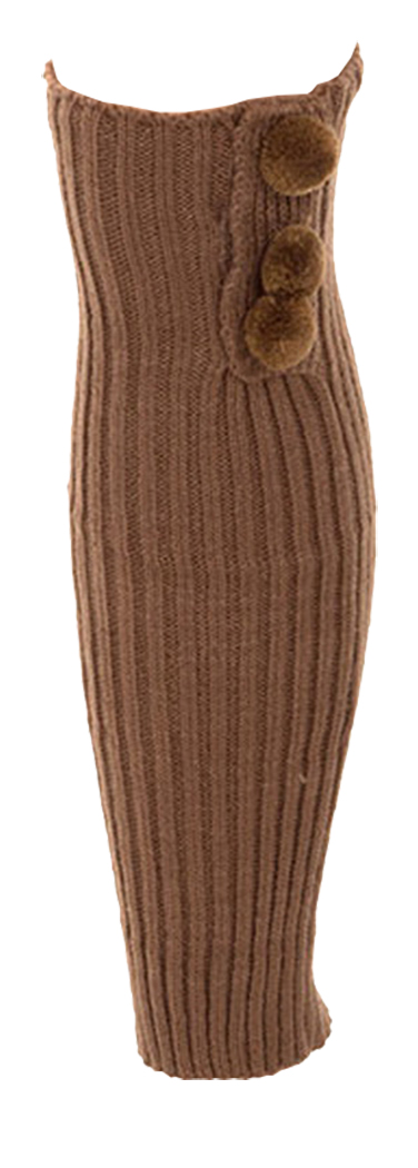 Belle Donne- Leg Warmer Solid Ribbed Knit Tie With Pom Pom Or Flower For Winter - Taupe