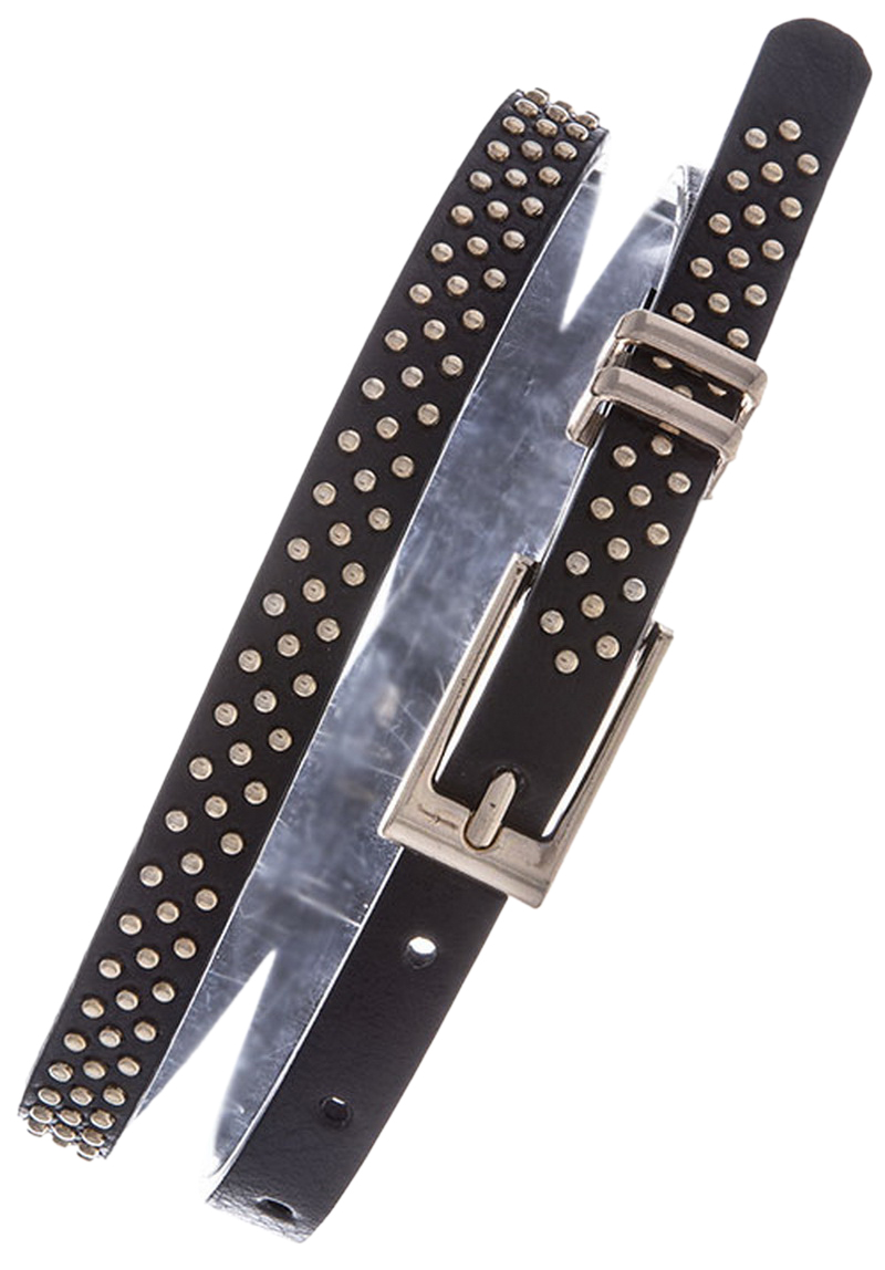 Womens Belts - Skinny Dress Belts with Polished Silver Belt Buckle for Women / Girls by Belle Donne - Black One Size
