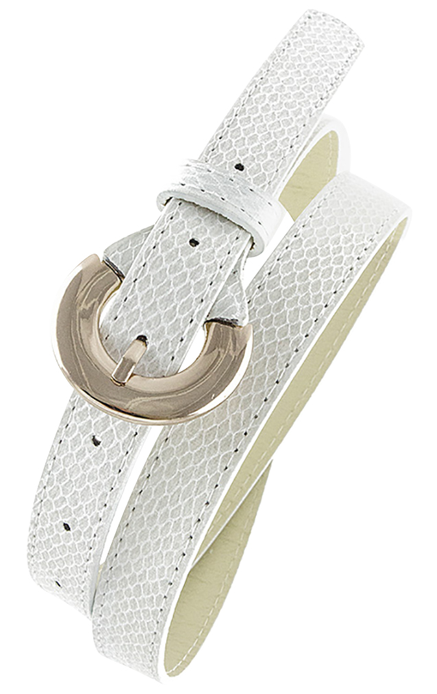 Womens Belts - Skinny Dress Belts with Polished Silver Belt Buckle for Women / Girls by Belle Donne - Beige One Size