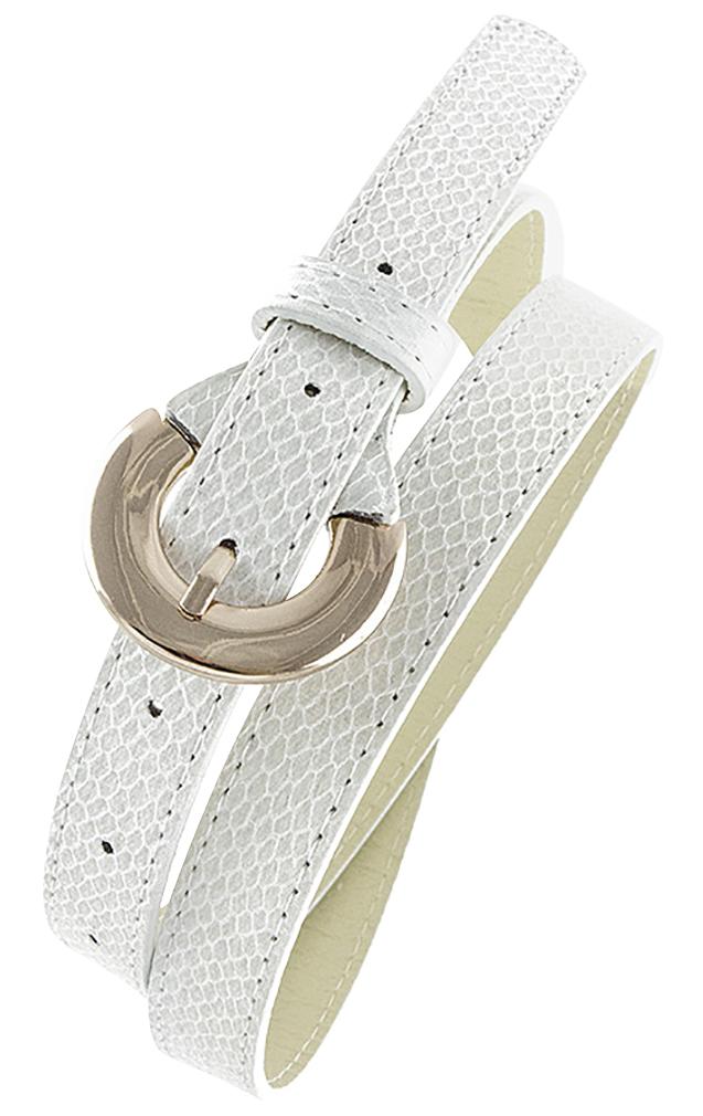 Womens Belts - Skinny Dress Belts with Polished Silver Belt Buckle for Women / Girls by Belle Donne - Beige One Size