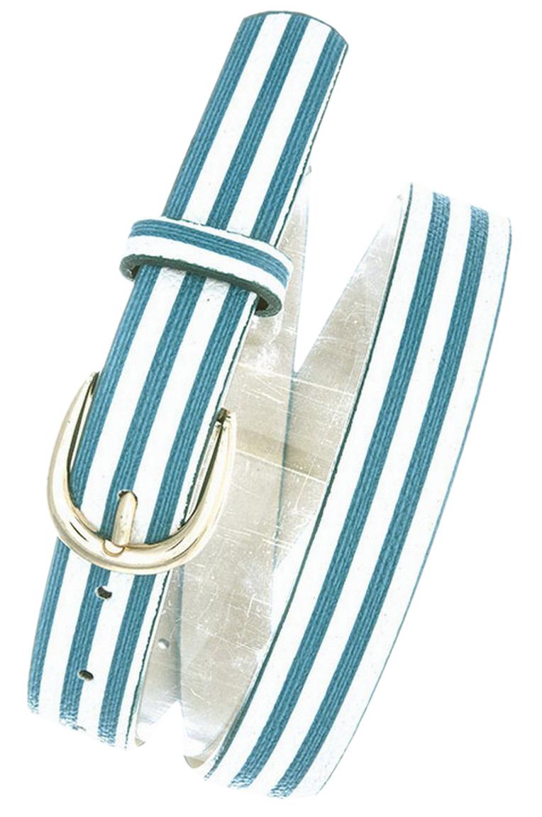 Womens Belts - Skinny Dress Belts with Polished Silver Belt Buckle for Women / Girls by Belle Donne - Teal One Size