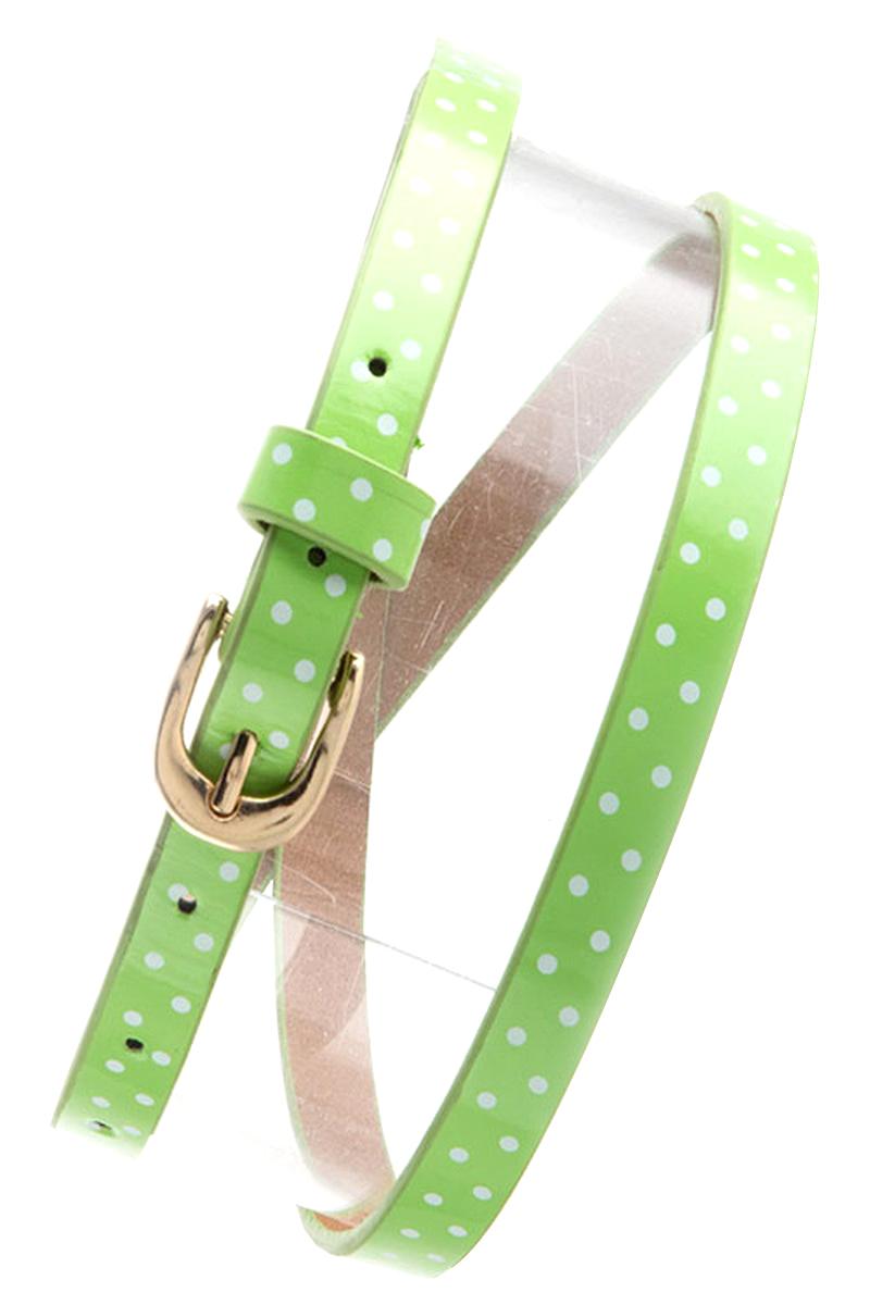Womens Belts - Skinny Dress Belts with Polished Silver Belt Buckle for Women / Girls by Belle Donne - Light Green One Size