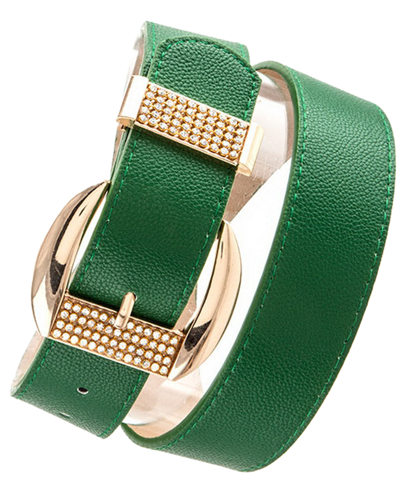Belle Donne Women Dress Belts Rhinestone Buckle Fashion Belts Many Styles Colors - Green