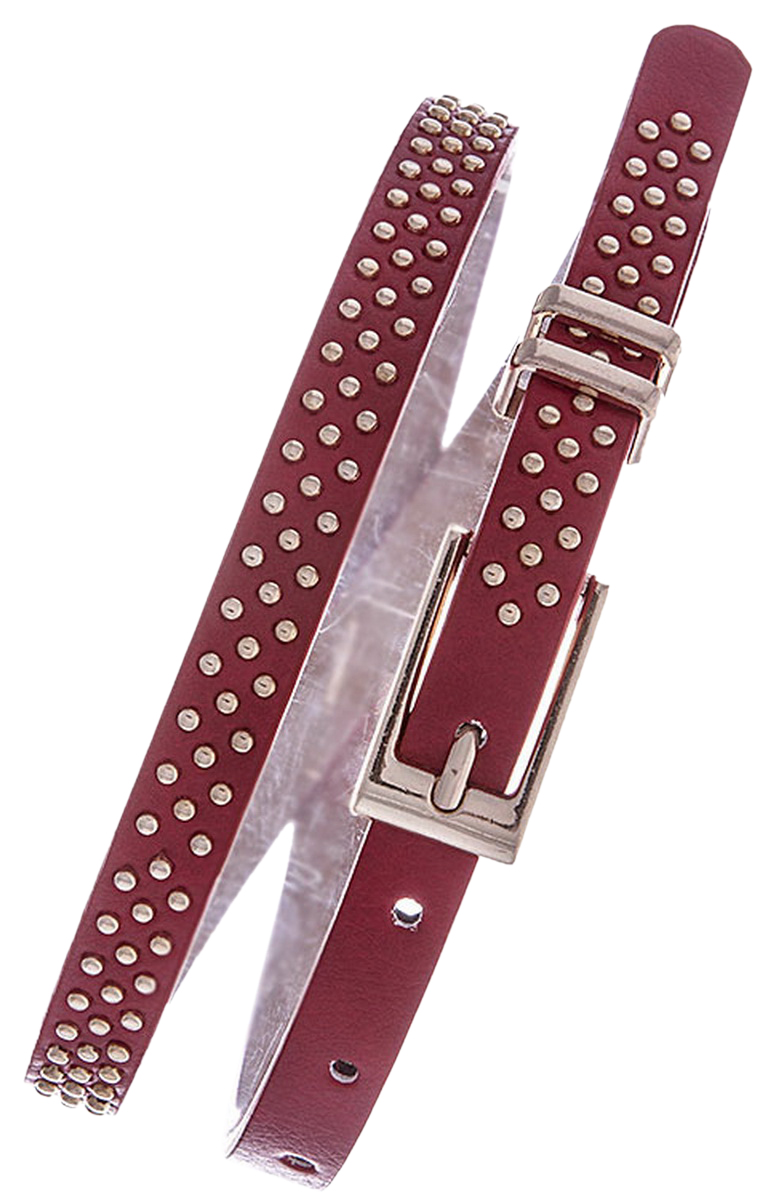 Womens Belts - Skinny Dress Belts with Polished Silver Belt Buckle for Women / Girls by Belle Donne - Red One Size