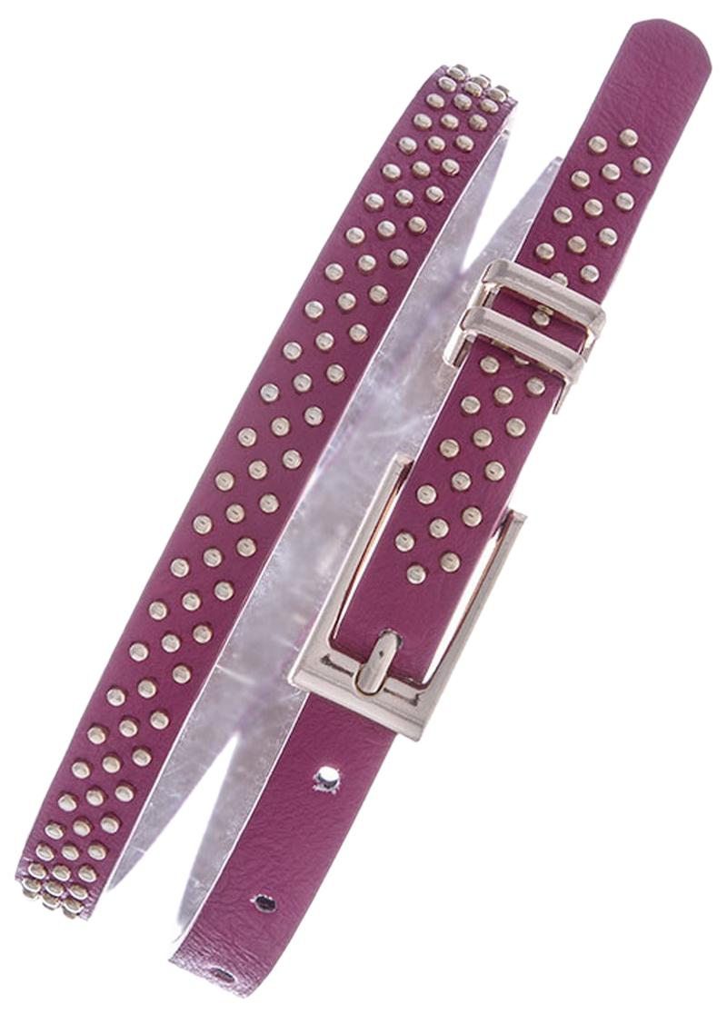 Womens Belts - Skinny Dress Belts with Polished Silver Belt Buckle for Women / Girls by Belle Donne - Plum One Size