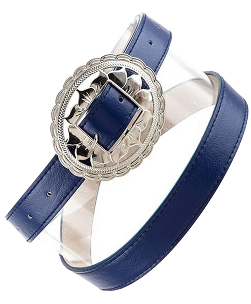 Womens Belts - Skinny Dress Belts with Polished Silver Belt Buckle for Women / Girls by Belle Donne - Navy One Size