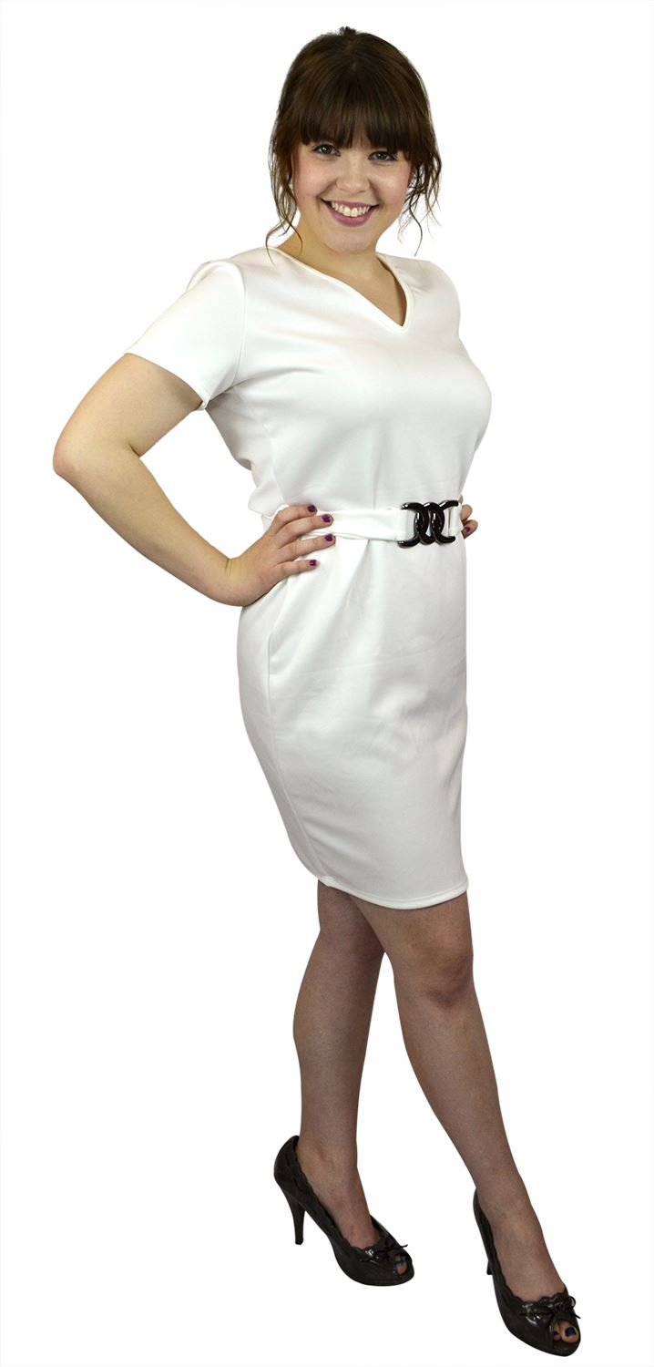 Belle Donne- Women's Plus Size Solid Dress -Ivory/X-Large