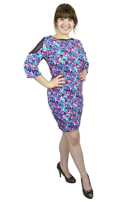 Belle Donne- Women's Plus Size Floral Dress -Blue/Purple Floral /XX-Large