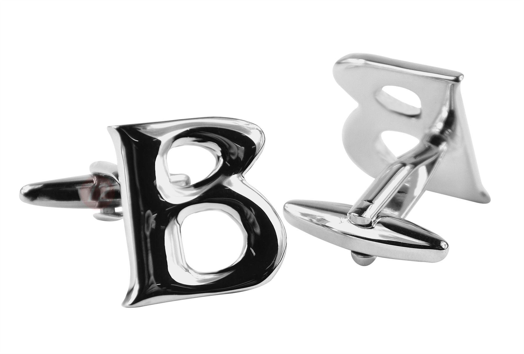 Moda Di Raza Mens Personalized Initial Cufflinks Polished Metal - Silver-B