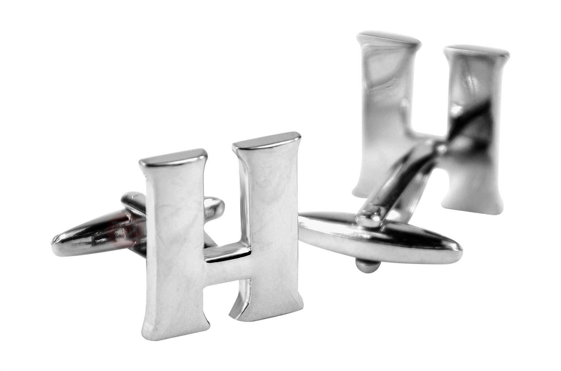 Mens Initial Cufflinks Personalized Sterling Silver Vintage Polished Metal Cufflinks - Silver-H