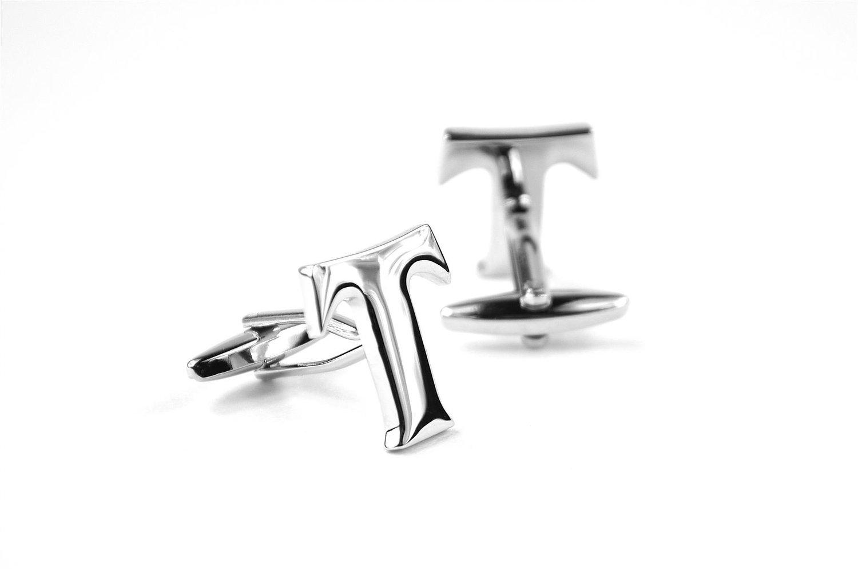 Moda Di Raza Mens Personalized Initial Cufflinks Polished Metal - Silver-T