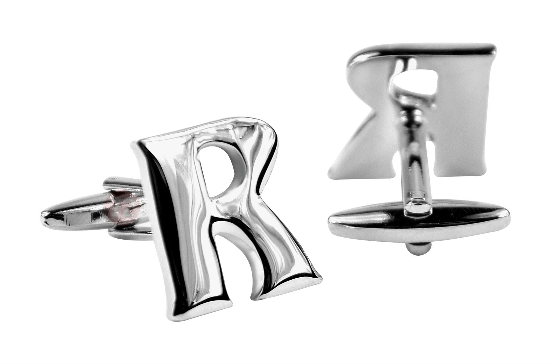 Moda Di Raza Mens Personalized Initial Cufflinks Polished Metal - Silver-R