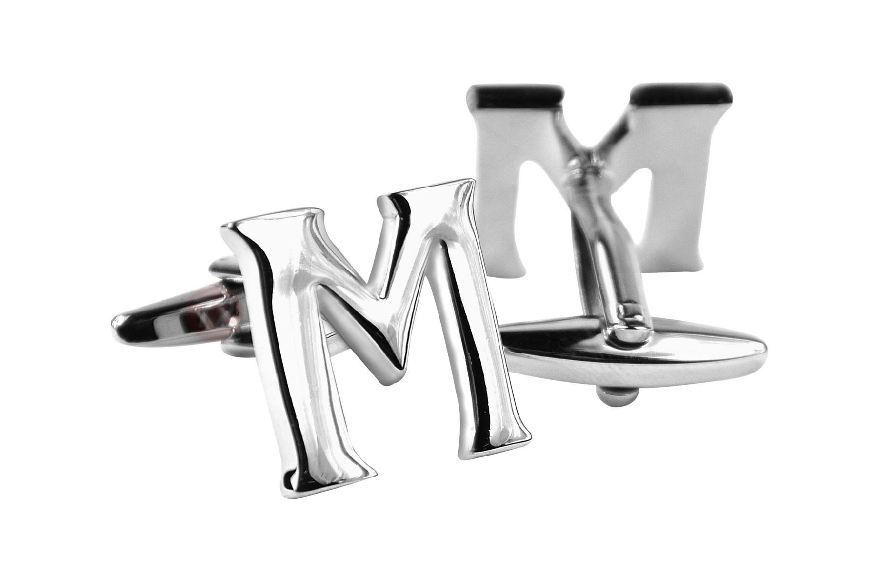 Mens Initial Cufflinks Personalized Sterling Silver Vintage Polished Metal Cufflinks - Silver-M