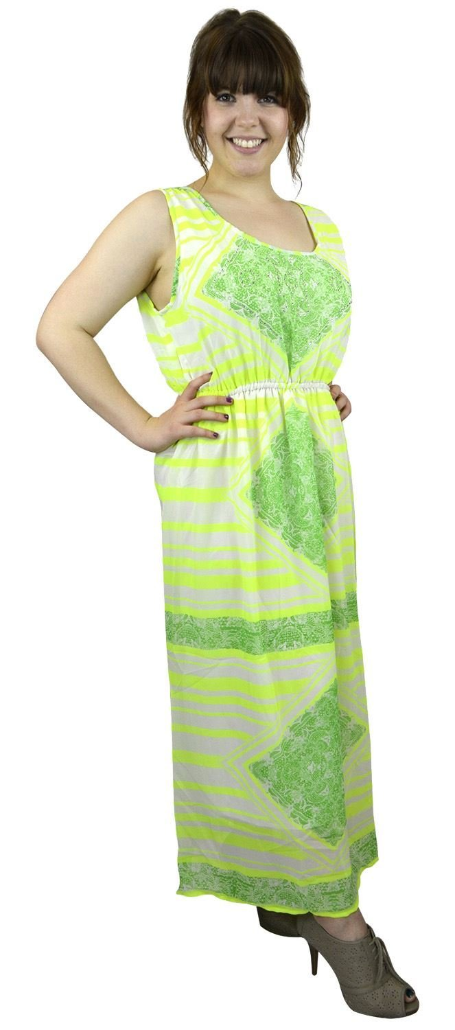 Belle Donne Women's Plus Size Print Maxi Dresses Cute Spring Fashion Sundress -Lime/XXX-Large