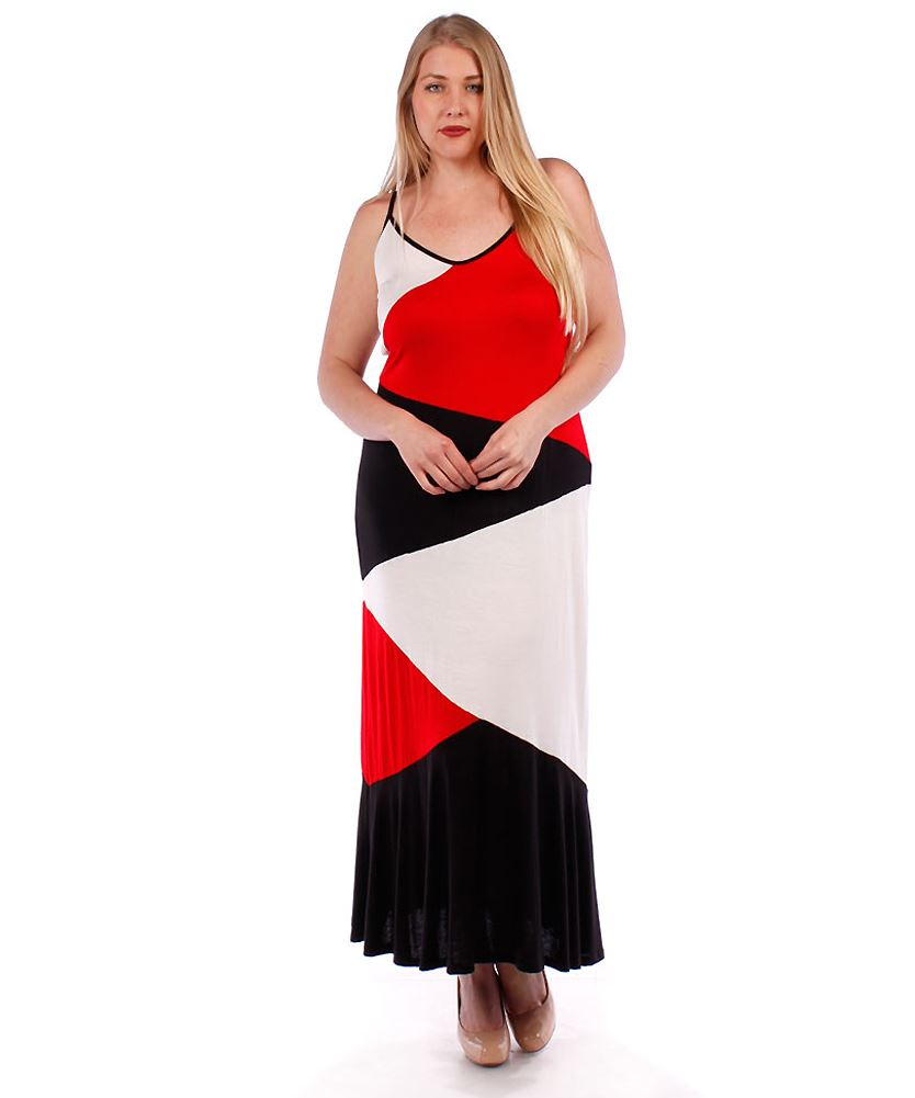 Belle Donne Women's Plus Size Color Block Maxi Dress - Red/XX-Large